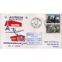 FDC ITALIA 1960 Alitalia 24/05/1960 Volo inaugurale Roma Parigi Annullo Speciale