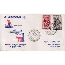 FDC ITALIA 1960 Alitalia 02/06/1960 Volo inaugurale Roma New York Annullo Speciale
