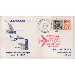 FDC ITALIA 1960 Alitalia 02/06/1960 Volo inaugurale New York Roma Annullo Speciale adf-ad