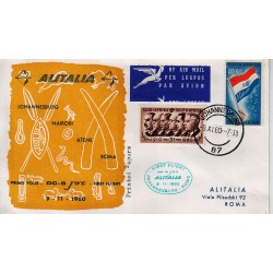 FDC ITALIA 1960 Alitalia 09/11/1960 Volo inaugurale Johannesburg Roma Annullo Speciale