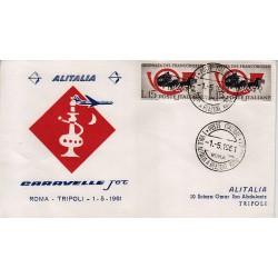 FDC ITALIA 1961 Alitalia 01/05/1961 Volo inaugurale Roma Tripoli Annullo Speciale
