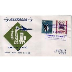 FDC ITALIA 1961 Alitalia 04/05/1961 Volo inaugurale Roma Caracas Annullo Speciale