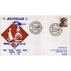 FDC ITALIA 1961 Alitalia 14/06/1961 Volo inaugurale Roma Sydney Annullo Speciale