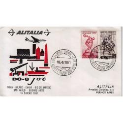 FDC ITALIA 1961 Alitalia 16/06/1961 Volo inaugurale Roma Bueno Saires Annullo Speciale