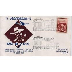 FDC ITALIA 1961 Alitalia 17/06/1961 Volo inaugurale Bueno Saires Roma Annullo Speciale