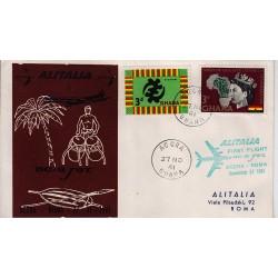 FDC ITALIA 1961 Alitalia 27/11/1961 Volo inaugurale Accra Roma Annullo Speciale