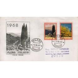FDC ITALIA 1968 Rodia Unif. 1106/7 Flora 3° S. Annullo Milano viag.