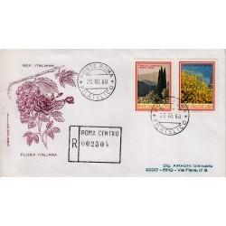 FDC ITALIA 1968 Filagrano Unif. 1106/7 Flora 3° S. Annullo Roma raccomandata