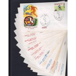 FDC ITALIA 1980 Roma Unif. 1496 Campionati Europei Di Calcio Serie da 15 Buste Annulli Speciali