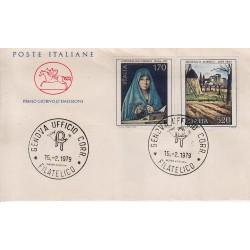 FDC ITALIA 1979 Cavallino Unif. 1448/9 Arte Italiana Annullo Genova