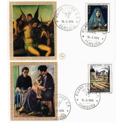 FDC ITALIA 1979 Filagrano Gold Unif. 1448/9 Arte Italiana Annullo Milano