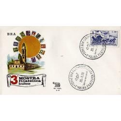 MARCOFILIA ANNULLO SPECIALE 29/03/1970 3° MOSTRA FILATELICA BRAITESE