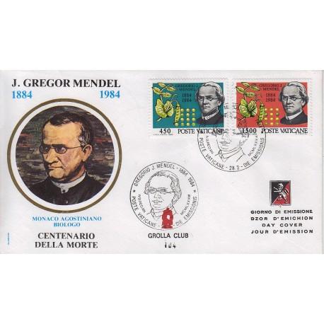 FDC VATICANO 1984 Grolla Unif. 749/50 Abate Gregorio J. Mendel