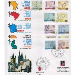 FDC VATICANO 1981 Grolla Unif. 697/707 Viaggi di G. Paolo II nel mondo nel 1980