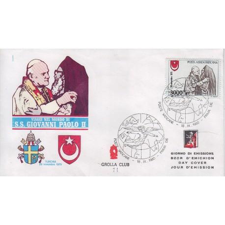 FDC VATICANO 1980 Grolla Unif. A72 Posta Aerea G. Paolo II in Turchia