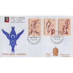 FDC VATICANO 1976 Grolla Unif. A60/62 Posta Aerea Angeli dal Giudizio Universale di Michelangelo