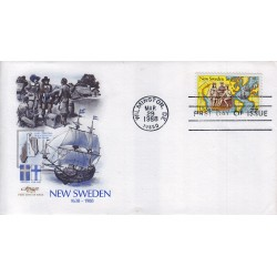 FDC US ArtMaster Sott. C117 28/03/1988 44c Settling of New Sweden 350th Anniv