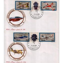 FDC Italia 1981 Roma Luxor 168/a Unif 1555/58 Costruzioni Aeronautiche A/F Udine