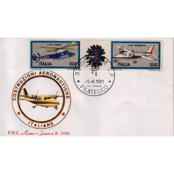 FDC Italia 1981 Roma Luxor 168a Unif 1555/56 Costruzioni Aeronautiche A/F Udine
