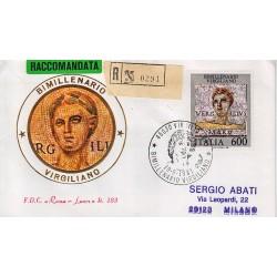FDC Italia 1981 Roma Luxor 183 Unif 1578 Virgilio A/S Virgilio Raccomandata