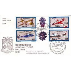 FDC Italia 1981 Rodia Unif 1555/58 Costruzione Aeronautiche Italiana A/S Casoria