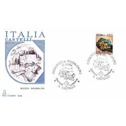 FDC Italia 1984 Capitolium 1674 Castelli d'Italia 550 A/S Rocca Sinibalda