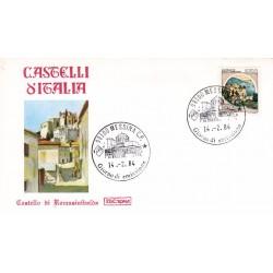 FDC Italia 1984 Roma 1674 Castelli d'Italia 550 Rocca Sinibalda A/F Messina