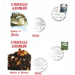 FDC Italia 1985 Roma 1737/8 Castelli d'Italia bobina Scilla Piobbico A/F Matera