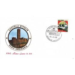 FDC Italia 1986 Roma Luxor Unif 1765 Castelli d'Italia 650 Castello di montecchio A/F UDINE