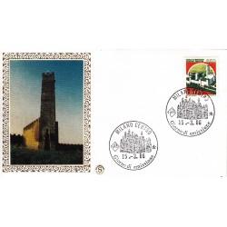 FDC Italia 1986 Filagrano Gold Unif. 1765 Castelli d'Italia 650 Castello di Montecchio A/F Milano
