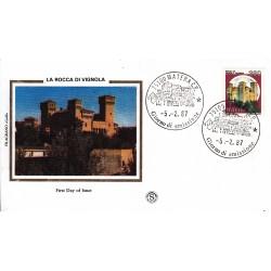 FDC Italia 1987 Filagrano Gold Unif. 1805 Castelli d'Italia 380 Rocca di Vignola A/F Matera