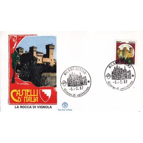 FDC Italia 1987 Filagrano Unif. 1805 Castelli d'Italia 380 Rocca di Vignola A/F Milano