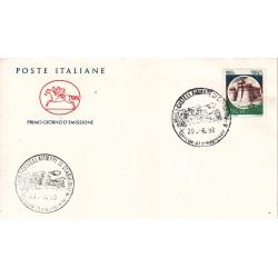 FDC Italia 1990 Cavallino Unif. 1962 Castelli d'Italia 750 Rocca di Urbisaglia A/F Castellammare di Stabia