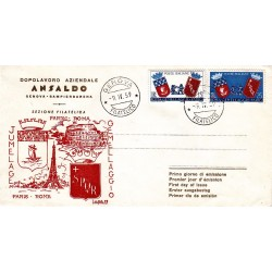 FDC Italia 1959 Ansaldo Unif. 856 Gemellaggio Roma Parigi A/O Genova