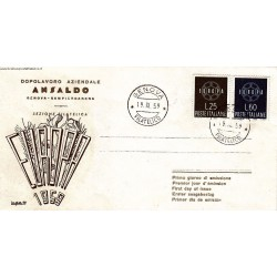 FDC Italia 1959 Ansaldo Unif. 877/8 Europa CEPT A/O Genova