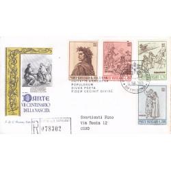 FDC VATICANO 1965 Roma Unif. 410/13 Dante Alighieri Raccomandata B