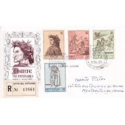 FDC VATICANO 1965 Roma Unif. 410/13 Dante Alighieri raccomandata b01