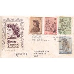 FDC VATICANO 1965 Roma Unif. 410/13 Dante Alighieri raccomandata b02