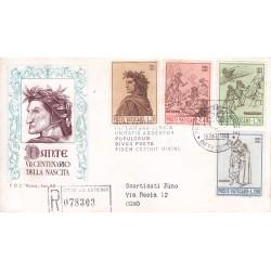 FDC VATICANO 1965 Roma Unif. 410/13 Dante Alighieri raccomandata c02