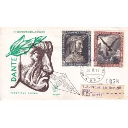 FDC SAN MARINO 1965 Venetia Unif 700-702 Dante Alighieri raccomandata