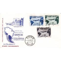 FDC Italia 1961 Capitolium Unif. 918/20 Visita del presidente Gronchi in Argentina A/O MI