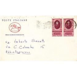 FDC ITALIA 1958 Cavallino Unif. 842 Evangelista Torricelli a/o Napoli viaggiata