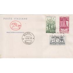 FDC ITALIA 1958 Cavallino Unif. 843/5 40° Anniv. Vittoria I Guerra Mondiale a/o Napoli