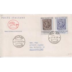 FDC ITALIA 1958 Cavallino Unif. 846/7 Visita Scià di Persia a/o Milano