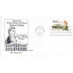 FDC US1936 - A1322 13/10/1981 20c Architect of White House James Hoban