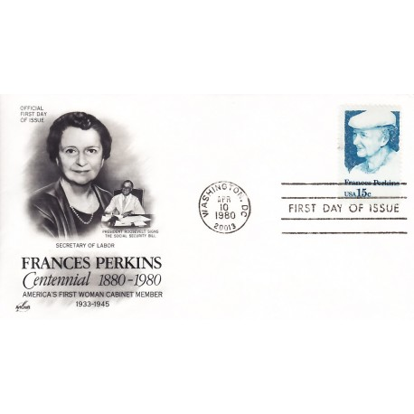 FDC USA 1821 - 04/10/1980 - 15c Frances Perkins - Washington, DC: 20013