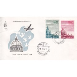 FDC Vaticano Venetia Club 1958 Unif. A33/4 Posta Aerea