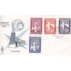 FDC Vaticano Venetia Club 1958 Unif. 239/42 Esposizione Universale Bruxelles