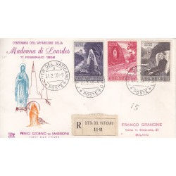 FDC Vaticano Venetia Club 1958 Unif. 236/68 Madonna di Lourdes raccomandata