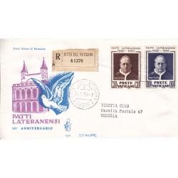 FDC Vaticano Venetia Club 1959 Unif. 260/61 Patti Lateranensi raccomandata